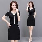 黑色洋裝/連衣裙女夏2021新款顯瘦中長款小個子包臀裙修身遮肚子一步裙 快速出貨