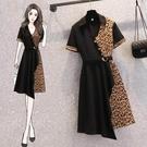 大碼洋裝 連身裙 L-4XL修身顯瘦優雅豹紋拼接連身裙4F072.6917 胖胖唯依