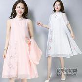 裝連衣裙兩件套復古民族風刺繡套裝裙仿真絲披肩外套