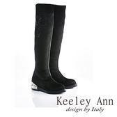 ★2015秋冬★Keeley Ann 完美顯瘦~高雅印花線條低跟長靴(黑色)