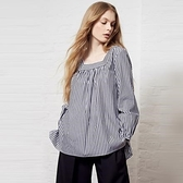 【南紡購物中心】《D Fina 時尚女裝》 復古方領 條紋後背鏤空綁帶寬鬆襯式上衣