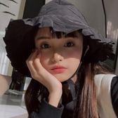 韓版 季林小宅同款小清新黑色漁夫帽休閒百搭繫帶盆帽子潮女   蜜拉貝爾