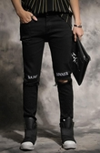 找到自己 MD 韓國 潮 男 嘻哈 街頭時尚 膝破洞 字母刺繡 另類 夜店DJ發型師 小腳褲 九分褲 牛仔褲