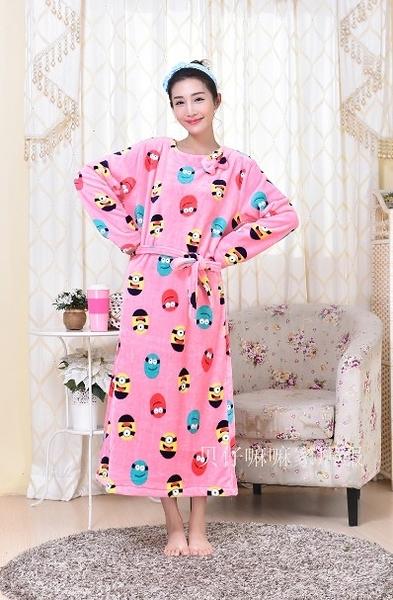 [協貿國際]秋冬法蘭絨珊瑚絨卡通寬鬆睡衣家居服