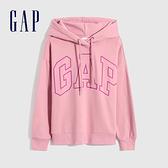 Gap女裝 Logo撞色馬卡龍色連帽休閒上衣 620490-粉色