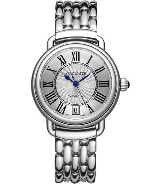 AEROWATCH 雅緻扭索時尚機械腕錶-銀 A60960AA01M