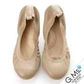 G.Ms. 旅行女孩II ‧素面鬆緊口全真皮可攜式軟Q娃娃鞋(附專屬鞋袋) *可可