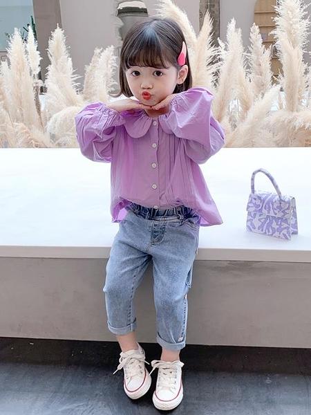 女童上衣 女童襯衫2021春秋新款兒童洋氣長袖中小童襯衣女春裝時髦上衣【快速出貨八折鉅惠】
