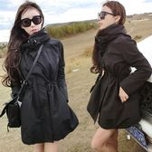 皮衣 歐洲站風衣女韓版寬松長袖連帽中長款顯瘦百搭女裝 交換禮物