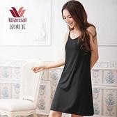 【南紡購物中心】【華歌爾】涼爽衣素色系列M-LL細帶連身裙款(黑)