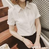新款短袖襯衫女夏雪紡衫白色襯衣職業大碼純棉上衣女工作服限時特惠
