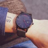 時尚潮手錶男學生正韓簡約休閒男士手錶大表盤防水石英表日歷皮帶   HTCC