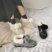 雪靴 2019新款雪地靴女百搭時尚短靴一腳蹬馬丁加絨加厚短筒棉鞋秋冬季35-40碼 3色