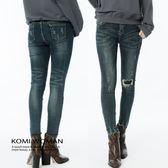 【KOMI】彈性窄管小破損感牛仔褲‧M/L (1815-702540)