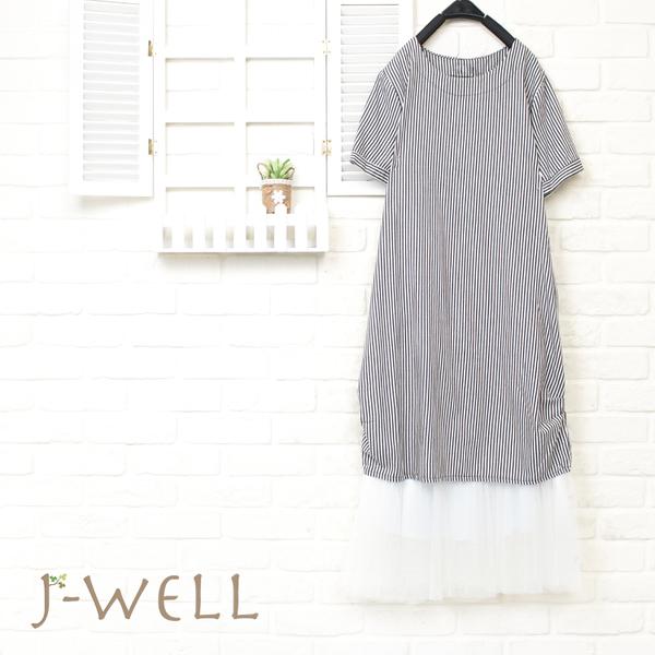 J-WELL 下擺抓褶條紋洋裝內襯洋二件組 (組合900 8J1432深藍+8J1311白)
