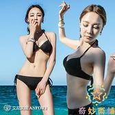 三點式性感三角比基尼鋼托聚攏泳衣女韓國分體【奇妙商鋪】