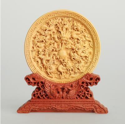 黃楊木雕工藝品手工精品創意擺件鎮宅辟邪辦公家居裝飾品送禮收藏 九龍戲珠