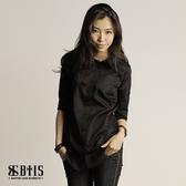 【BTIS】背面多扣 七分袖襯衫  / 黑色