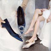 鞋子女新款水鉆女鞋紅色高跟鞋新娘鞋婚鞋尖頭低跟細跟3cm女