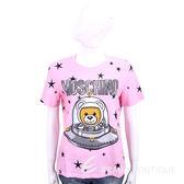 MOSCHINO 太空熊星星圖案粉色棉質短袖T恤 1840431-05