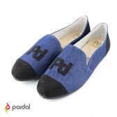 Paidal-PD貼字樂福鞋-深藍