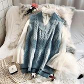 秋冬無袖毛衣馬甲背心韓版女寬鬆短款外套V領套頭針織衫【町目家】