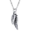 《QBOX 》FASHION 飾品【C20N1691】精緻個性歐美潮流天使之翼羽毛鑄造鈦鋼墬子項鍊/掛飾