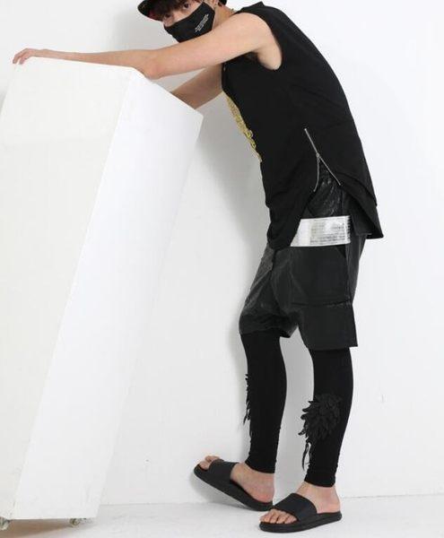 找到自己 MD 韓國 男 街頭 時尚 暗黑 金線刺繡 夜店髮型師 潮人款 打底衫 特色短T