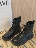 馬丁靴 加絨厚底馬丁靴女2021冬新款英倫風ins潮瘦瘦靴復古黑色短靴【快速出貨八折優惠】