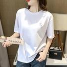 短袖t恤女2021年新款女夏季黑色寬鬆半袖中長款上衣女白色t恤女潮【快速出貨】