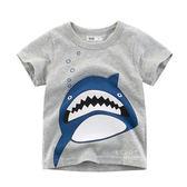 大嘴牙齒鯊魚短袖T恤上衣 上衣 童裝 短袖上衣 T恤
