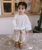 清新可愛春夏新款兒童公主上衣甜美刺繡小童純棉泡泡長袖娃娃衫