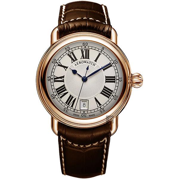AEROWATCH 經典扭索時尚腕錶-銀x玫塊金框x咖啡/40mm A42900RO01