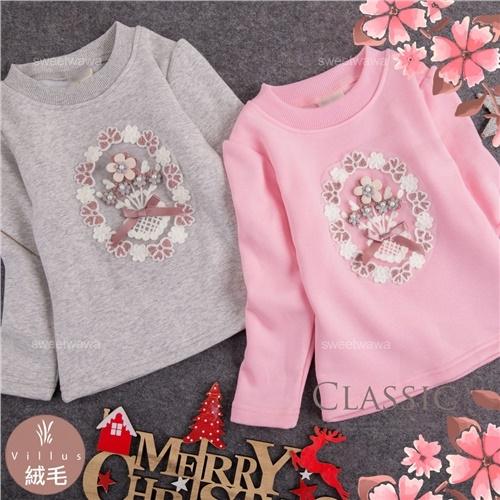 禦寒保暖~珍珠搖蝶結花朵長袖上衣-2色(厚棉,內絨毛)(300732)【水娃娃時尚童裝】