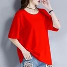 大紅色t恤女寬鬆短袖純棉大碼中長款2021年新款純色夏t桖韓版上衣【快速出貨】