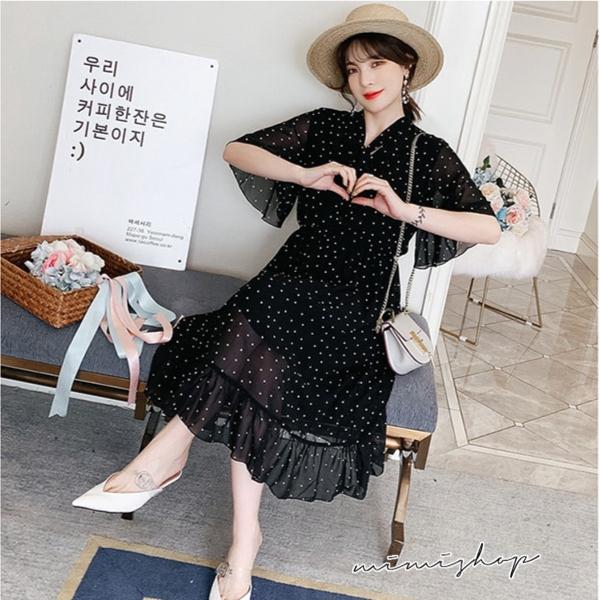 孕婦裝 MIMI別走【P521396】一圈一圈的微笑 波點雪紡收腰連衣裙 孕婦洋裝