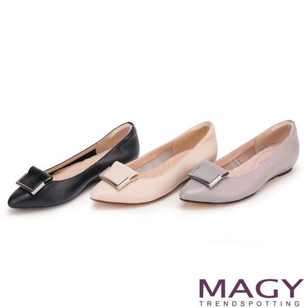 MAGY OL通勤專屬 方型飾釦牛皮尖頭平底鞋-黑色