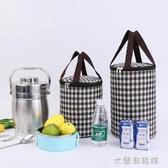保溫包 飯盒袋圓形圓桶保溫鋁箔加厚大容量防水手提袋便當包保溫桶袋子 遇見初晴