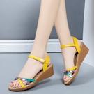 楔形鞋 2021新款夏季學生坡跟細帶羅馬涼鞋女中跟百搭媽媽女士休閒女鞋潮 韓國時尚 618