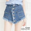 中大尺碼-前排扣抽鬚褲裙【111-579...