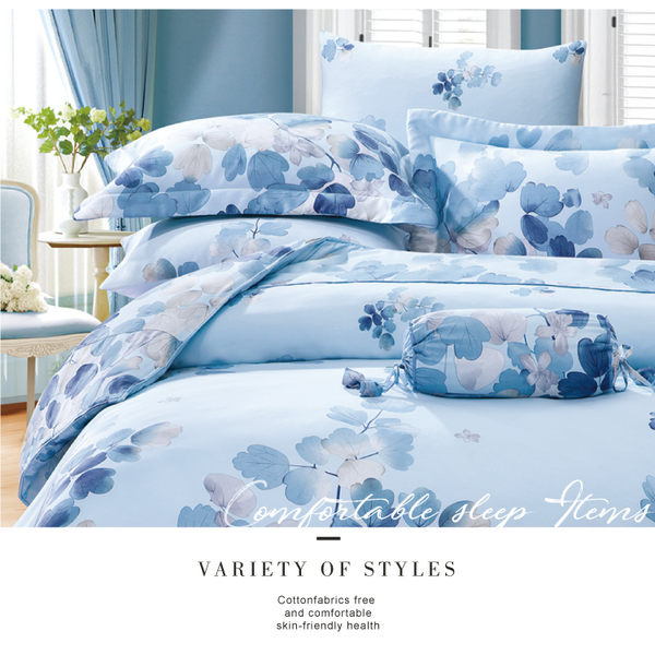 【LORIA洛莉亞】TENCEL天絲四件式床包組~標準雙人【卉影~藍 】