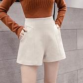 毛呢短褲女冬高腰闊腿A字顯瘦寬松休閑秋冬靴褲外穿T632紅粉佳人