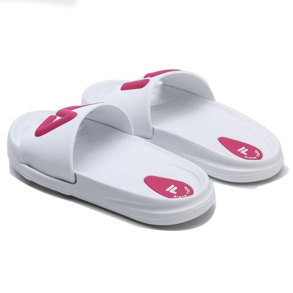 FILA 白粉 大 立體LOGO 防水 中童 拖鞋 (布魯克林) 2S428U002