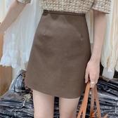 皮裙 歐洲站時尚高腰顯瘦A字包臀裙女早秋新款PU皮短裙咖色半身裙 卡洛琳