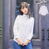 襯衫--文青女孩系俐落率性經典配色細直條紋雙口袋合身彈性襯衫(黑XL-3L)-I181眼圈熊中大尺碼