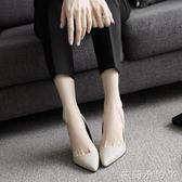 春秋韓版裸色尖頭高跟鞋細跟絨面單鞋性感蛇紋OL黑色優雅職業女鞋  蘿莉小腳丫