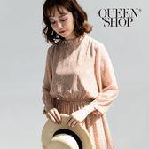 Queen Shop【01084349】滿版小碎花荷葉領長版洋裝 兩色售*現+預*