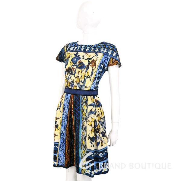 ALBERTA FERRETTI 藍色彩繪圖騰印花短袖洋裝 1620598-34