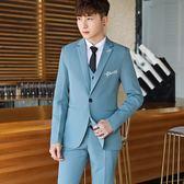 男士西服套裝修身學生小西裝外套帥氣韓版青少年西服三件套結婚潮