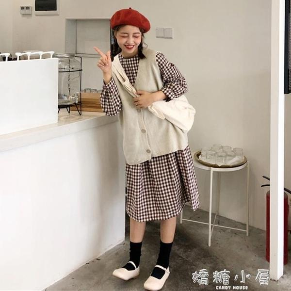 韓版時尚休閒套裝秋季女裝中長款長袖格子洋裝 針織馬甲兩件套  嬌糖小屋
